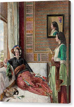 Harem Life  Constantinople Canvas Print by John Frederick Lewis
