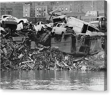 Canvas Print featuring the photograph Harlem River Junkyard, 1967 by Cole Thompson