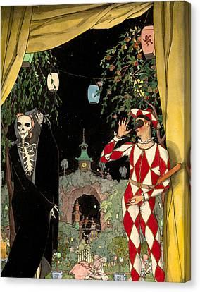 Harlequin And Death Canvas Print by Konstantin Somov