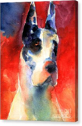 Harlequin Great Dane Watercolor Painting Canvas Print
