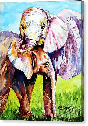 Canvas Print featuring the painting Harley And Bentley by Maria Barry