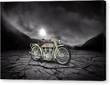 Harley Davidson 11j 1915 Mountains Canvas Print by Aged Pixel