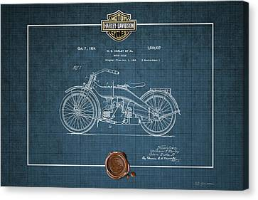 Canvas Print featuring the digital art Harley-davidson 1924 Vintage Patent Blueprint  by Serge Averbukh
