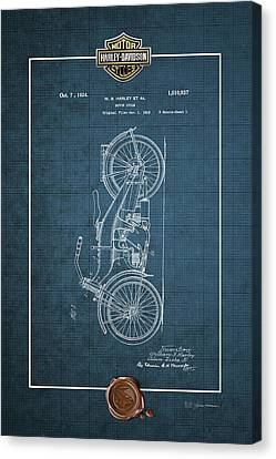Canvas Print featuring the digital art Harley-davidson 1924 Vintage Patent Blueprint With 3d Badge by Serge Averbukh