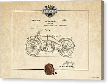 Canvas Print featuring the digital art Harley-davidson 1924 Vintage Patent Document  by Serge Averbukh