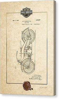 Canvas Print featuring the digital art Harley-davidson 1924 Vintage Patent Document With 3d Badge by Serge Averbukh