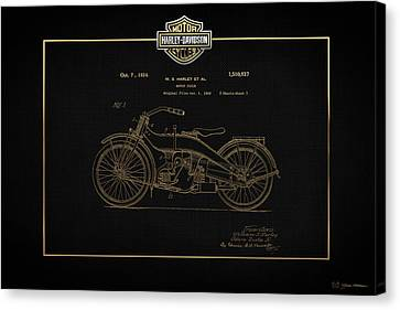 Canvas Print featuring the digital art Harley-davidson 1924 Vintage Patent In Gold On Black by Serge Averbukh