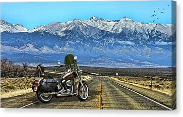 Harley Davidson Heritage Motorcycle On The Doorstep Of The Rockies, Colorado Canvas Print by Thomas Pollart