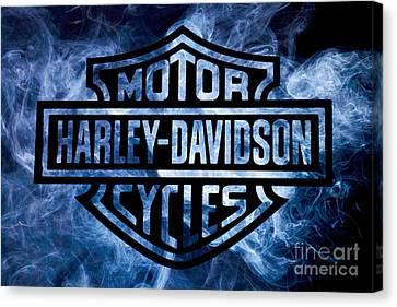 Harley Davidson Logo Blue Canvas Print by Randy Steele