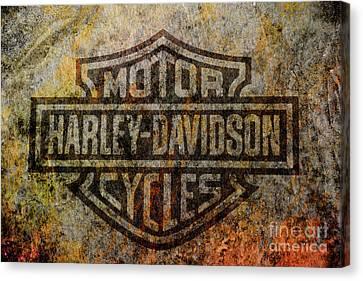Harley Davidson Logo Grunge Metal Canvas Print by Randy Steele