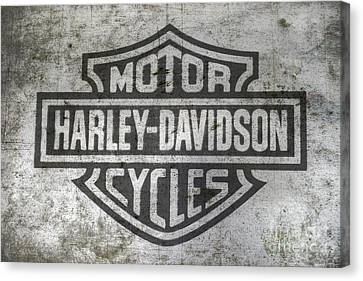 Artwork On Canvas Print - Harley Davidson Logo On Metal by Randy Steele