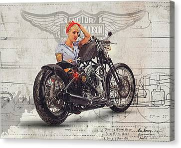 Harley Davidson Mechanic Girl Canvas Print by Yurdaer Bes
