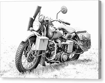 Harley Davidson Military Motorcycle Bw Canvas Print by Athena Mckinzie