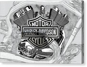 Canvas Print featuring the digital art Harley-davidson Motorcycle Engine Detail With 3d Badge  by Serge Averbukh