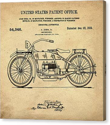 Harley Davidson Motorcycle Patent 1919 In Sepia Canvas Print by Bill Cannon