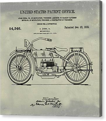 Harley Davidson Motorcycle Patent 1919 Weathered Canvas Print by Bill Cannon