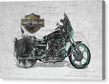 Canvas Print featuring the digital art Harley-davidson Motorcycle With 3d Badge Over Vintage Patent by Serge Averbukh