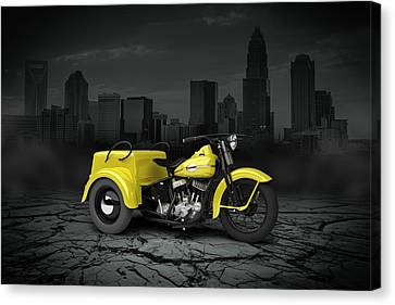 Harley Davidson Service Car 1942 City Canvas Print by Aged Pixel