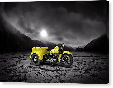 Harley Davidson Service Car 1942 Mountains Canvas Print by Aged Pixel