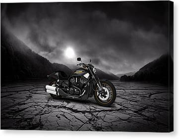 Harley Davidson V-rod 2013  Mountains Canvas Print by Aged Pixel