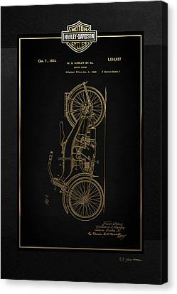 Canvas Print featuring the digital art Harley-davidson Vintage 1924 Patent In Gold With 3d Badge On Black by Serge Averbukh