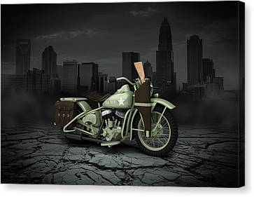 Harley Davidson Wla 1942 City Canvas Print by Aged Pixel