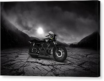 Harley Davidson Xlcr 1977 Mountains Canvas Print by Aged Pixel
