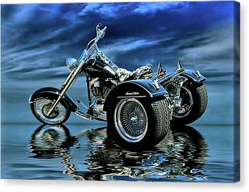 Harley Heritage Soft Tail Trike Canvas Print by Steven Agius