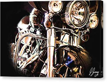 Harley In The Dark Canvas Print by Joshua Zaring