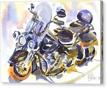 Motorcycle In Watercolor Canvas Print