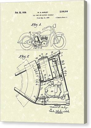 Harley Motorcycle 1938 Patent Art Canvas Print by Prior Art Design