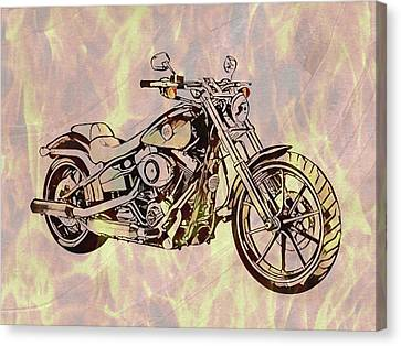 Canvas Print featuring the mixed media Harley Motorcycle On Flames by Dan Sproul