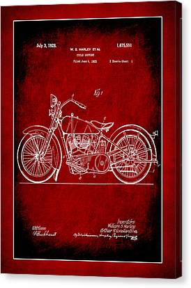 Harley Motorcycle Support Patent 1a Canvas Print