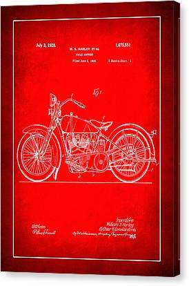 Harley Motorcycle Support Patent 1n Canvas Print
