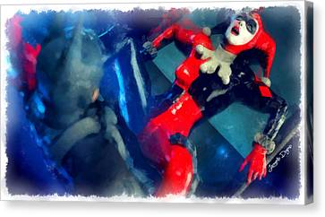 Marvel Canvas Print - Harley Quinn Fighting Batman  - Aquarell Style -  - Da by Leonardo Digenio