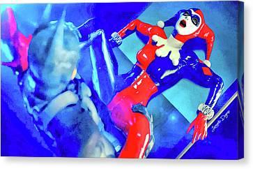 Harley Quinn Fighting Batman - Vivid Aquarell Style Canvas Print by Leonardo Digenio