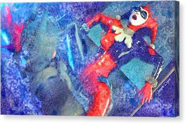 Harley Quinn Fighting Batman  - Watercolor Style -  - Da Canvas Print by Leonardo Digenio