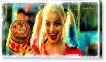 Harley Quinn Happy - Da Canvas Print by Leonardo Digenio