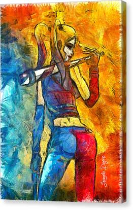 Harley Quinn Spicy - Pencil Style Canvas Print by Leonardo Digenio