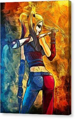 Harley Quinn Spicy  - Van Gogh Style -  - Da Canvas Print by Leonardo Digenio