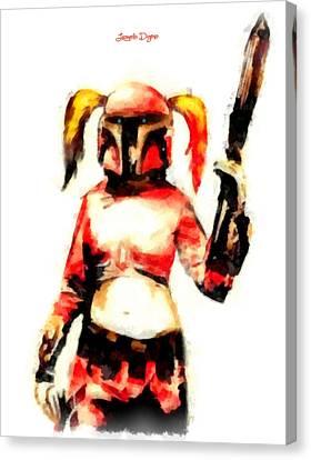 Harley Quinn Trooper  - Aquarell Style -  - Da Canvas Print by Leonardo Digenio