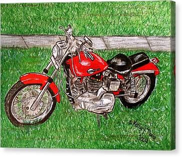 Harley Red Sportster Motorcycle Canvas Print
