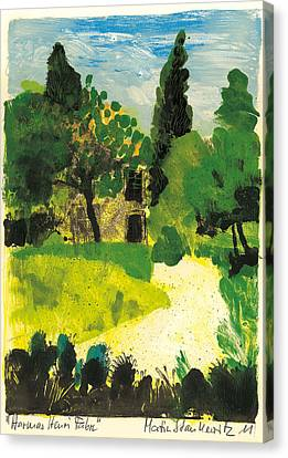 Canvas Print featuring the painting Harmas Henri Fabre Provence Garden by Martin Stankewitz