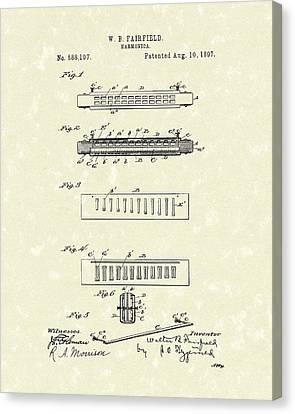 Harmonica Fairfield 1897 Patent Art Canvas Print by Prior Art Design