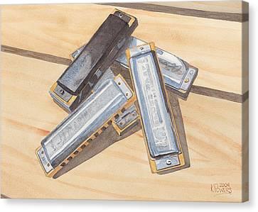 Harmonica Pile Canvas Print by Ken Powers