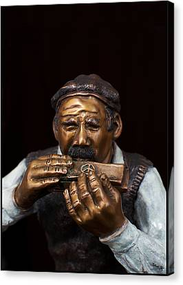 Harmonica Player Canvas Print