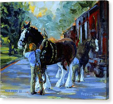 Harnessing The Clydesdales Canvas Print