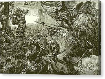 Courage Canvas Print - Harold At The Battle Of Hastings  by English School