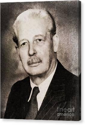 Harold Macmillan, Prime Minister United Kingdom By John Springfield Canvas Print