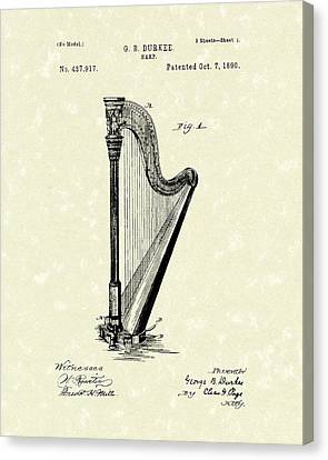 1890 Canvas Print - Harp 1890 Patent Art by Prior Art Design